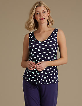 Built-up Shoulder Spotted Pyjama Top