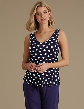 Built-up Shoulder Spotted Pyjama Top, NAVY MIX, catlanding