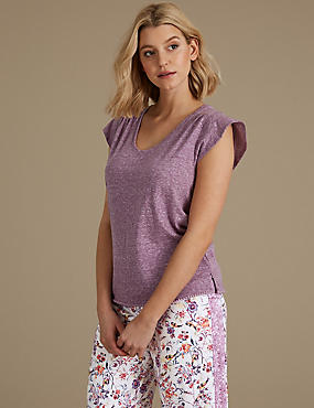 Textured Short Sleeve Pyjama Top, PURPLE, catlanding