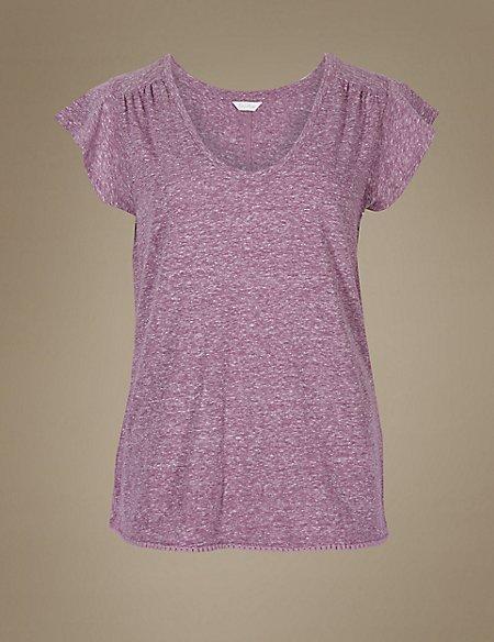 Textured Short Sleeve Pyjama Top