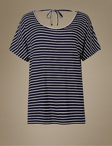 Striped Short Sleeve Pyjama Top