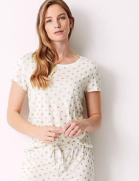 Glitter Star Print Short Sleeve Pyjama Top , CREAM MIX, catlanding