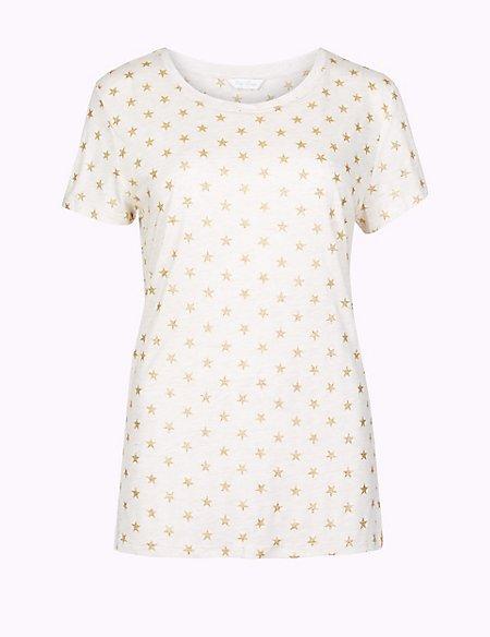 Glitter Star Print Short Sleeve Pyjama Top