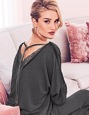 Textured Long Sleeve Pyjama Top , CHARCOAL, catlanding