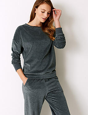 Supersoft Sparkle Striped Lounge Top, CHARCOAL MIX, catlanding