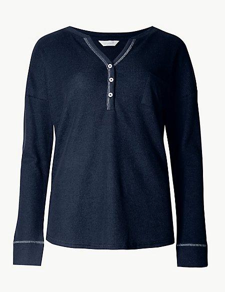 Cotton Blend Textured Long Sleeve Pyjama Top