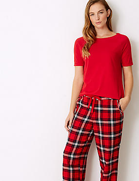 Short Sleeve Pyjama Top, RED MIX, catlanding