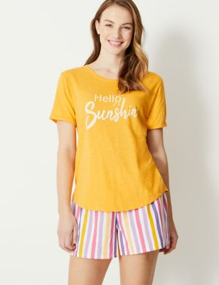 Hello Sunshine Slogan Pyjama Top