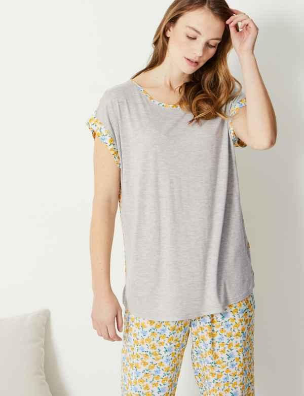 7fece0c0fd Jersey Floral Short Sleeve Pyjama Top