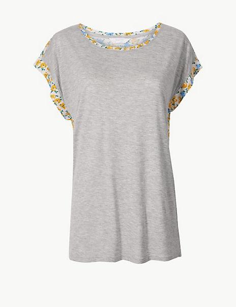 Jersey Floral Short Sleeve Pyjama Top