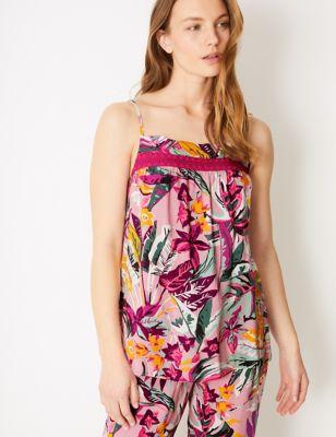 Tropical Strappy Cami Pyjama Top