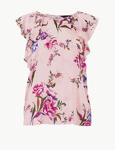Pure Modal Floral Frill Sleeve Pyjama Top