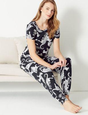 Pyjamatop met korte mouwen en luipaardmotief
