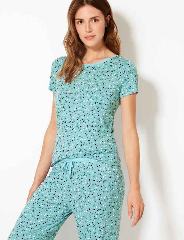 29a49b26d9188 Heart Print Short Sleeve Pyjama Set