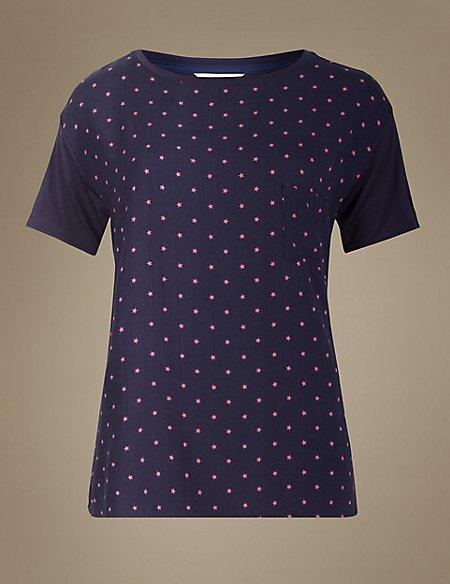 Star Print Short Sleeve Pyjama Top