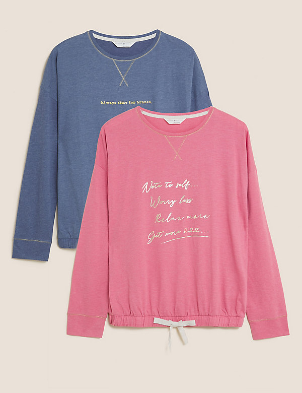 2 Pack Cotton Worry Less and Brunch Tops