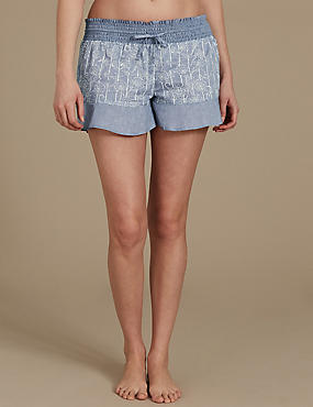 Pure Cotton Floral Print Pyjama Shorts