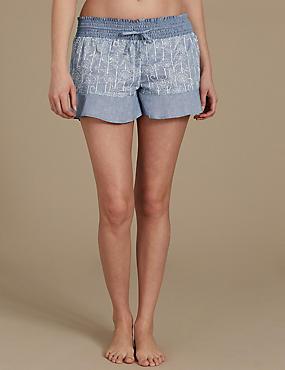 Pure Cotton Floral Print Pyjama Shorts, BLUE MIX, catlanding