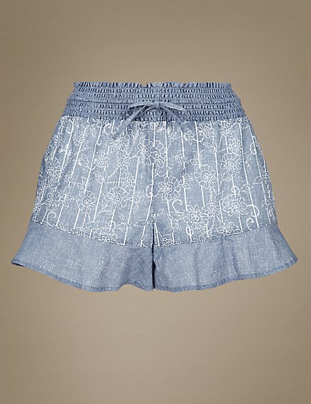 Pure Cotton Floral Print Pyjama Shorts