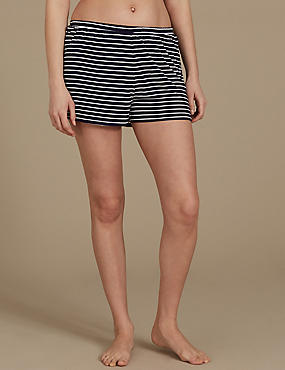Striped Pyjama Shorts, NAVY MIX, catlanding