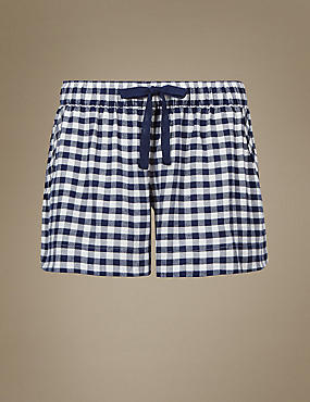 Checked Pyjama Shorts, NAVY MIX, catlanding