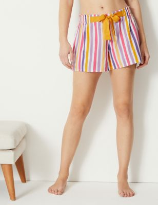 Striped Tie Front Pyjama Shorts