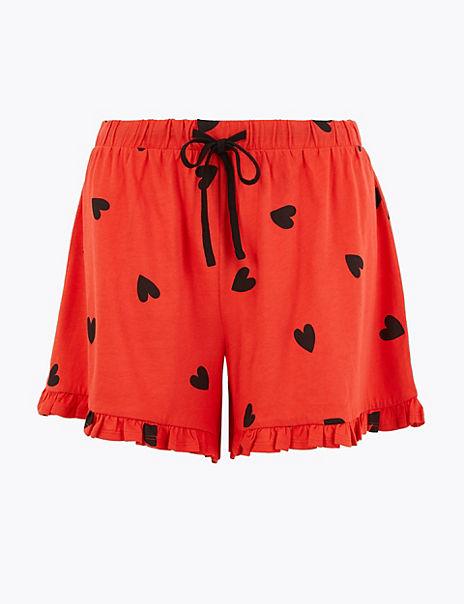 Heart Print Pyjama Shorts