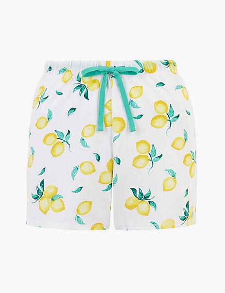 Cotton Lemon Print Pyjama Shorts