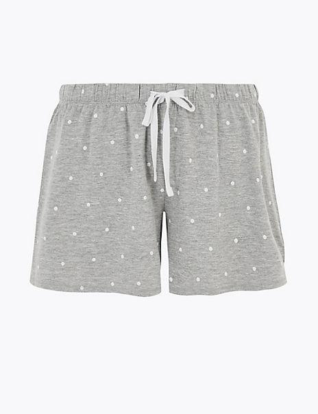 Cotton Polka Dot Print Pyjama Shorts