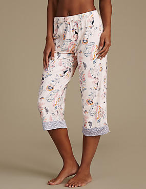 Floral Print Cropped Pyjama Bottoms