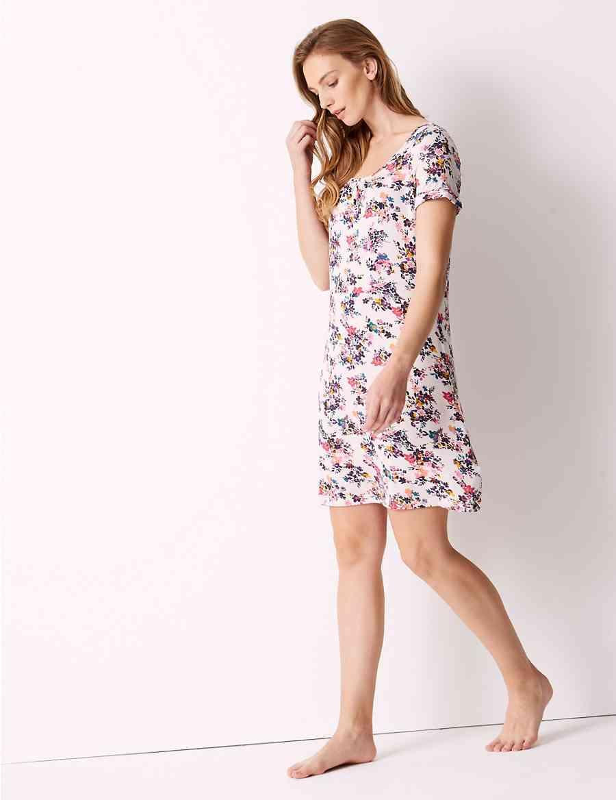 Floral Print Short Sleeve Nightdress  ebfb1ed17