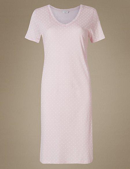 Cotton Blend Printed Short Nightdress