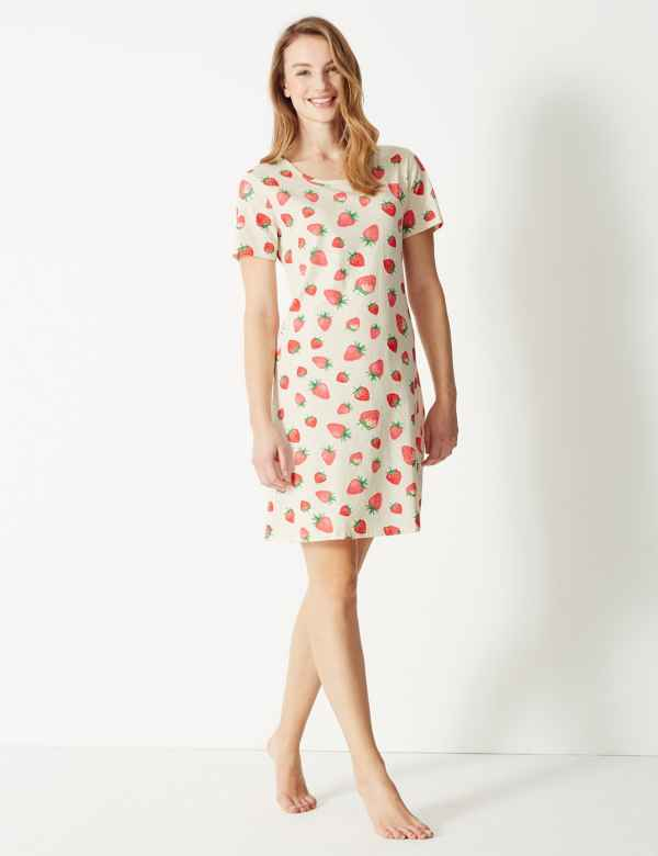 Pure Cotton Strawberry Print Nightdress ed9cdce68
