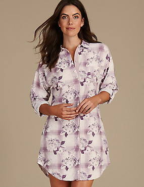 Cotton Blend Floral Print Nightshirt