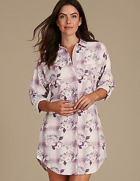 Cotton Blend Floral Print Nightshirt, PINK MIX, catlanding