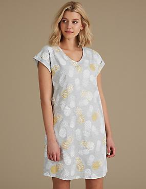 Cotton Rich Printed Short Nightdress, GREY MIX, catlanding