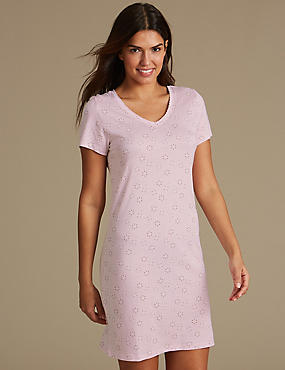Modal Blend Printed Nightdress, PINK MIX, catlanding