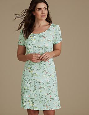Floral Print Ruffle Sleeve Nightdress, SAGE MIX, catlanding