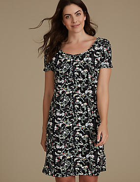 Floral Print Ruffle Sleeve Nightdress, BLACK MIX, catlanding