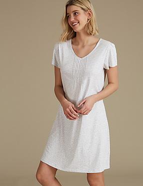 Modal Blend Striped Short Nightdress