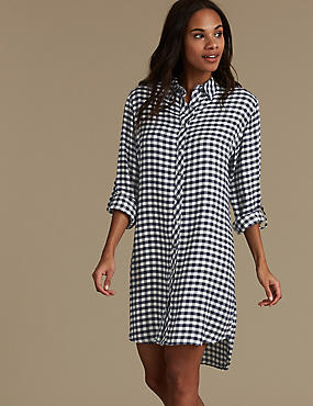 Checked Long Sleeve Nightshirt, NAVY MIX, catlanding