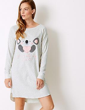Cotton Rich Koala Print Short Nightdress