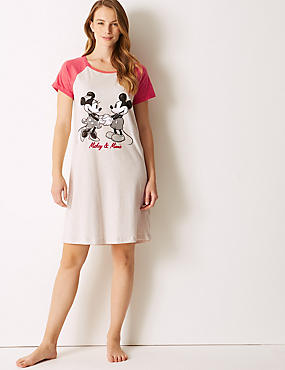 Pure Cotton Mickey Mouse™ Nightdress, OATMEAL MIX, catlanding