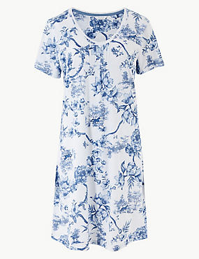 Printed Short Sleeve Nightdress, BLUE MIX, catlanding