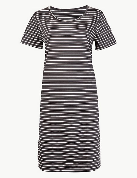 Pure Cotton Striped Short Nightdress