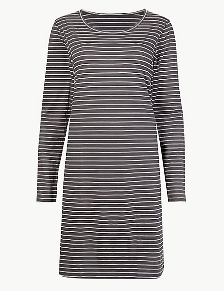 Pure Cotton Striped Nightdress
