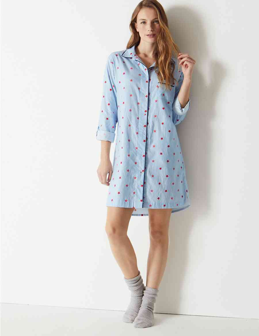 Pure Cotton Star and Stripe Print Nightshirt  db345e65b
