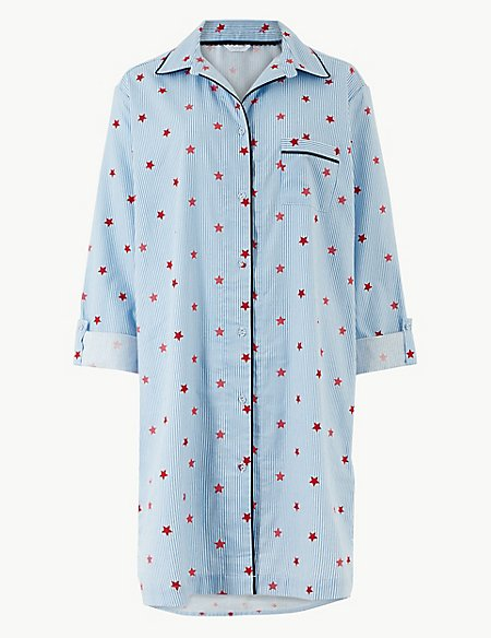 Pure Cotton Printed Nightshirt