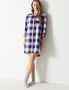 Checked Long Sleeve Nightshirt, BLUE MIX, catlanding