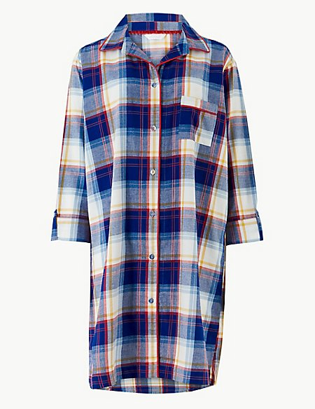 Pure Cotton Checked Nightshirt